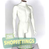 Male 3/4 Torso Mannequin No Head With Arms White